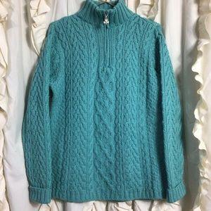 Aran Crafts Ireland Merino Wool Cable Knit Sweater